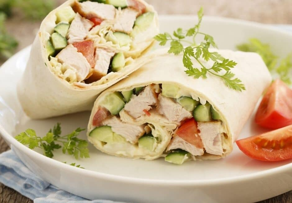 Summer chicken salad wraps served on a plate